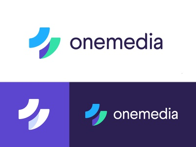Onemedia brand minimalistic simple portfolio purple identity colors branding logo