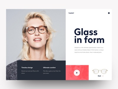 Glasses red minimal hero header webapp dashboard app webdesign interface ux ui