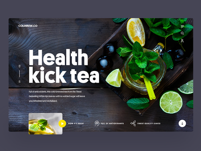 Tea hero website design clean webdesign ux ui hero tea