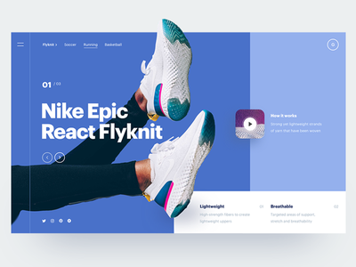 Epic Blue nike hero header ui ux website interface blue minimal