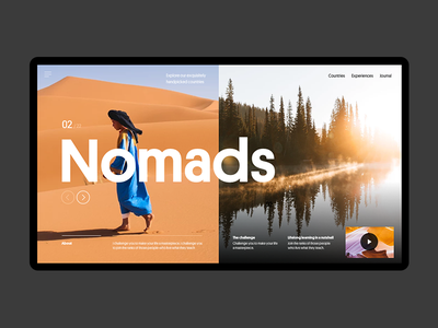 Nomads website ux ui minimal lifestyle travel interface hero header