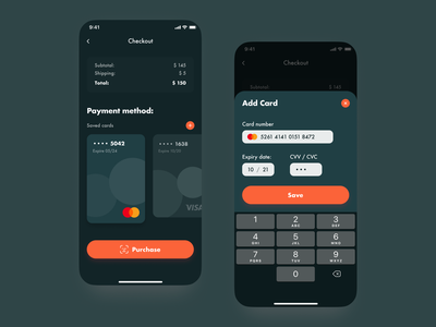 E-commerce Checkout add card card checkout screen checkout page design ios ux uidesign ui app ecommerce app ecommerce checkout cart
