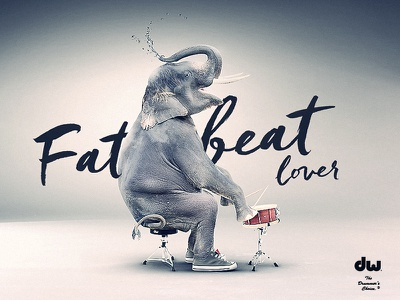 Fatbetatlover graphic design fat beat elephant drummer advertising