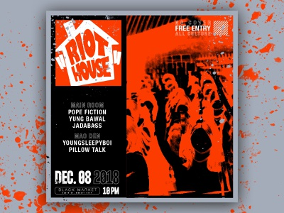 Riot House - D&AD design dance branding graphic club art direction music poster graphic design