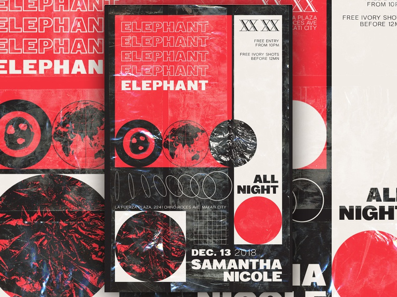 Elephant: Samantha Nicole All Night - D&AD acid techno typography branding club art direction music poster graphic design