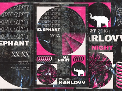 Elephant: Karlovv All Night - D&AD acid techno typography branding club art direction music poster graphic design