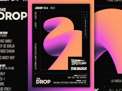 The Drop x The Block x Dub to the Future - D&AD neon minimalist minimal philippines manila illustration vector typography branding design graphic club art direction music poster graphic design