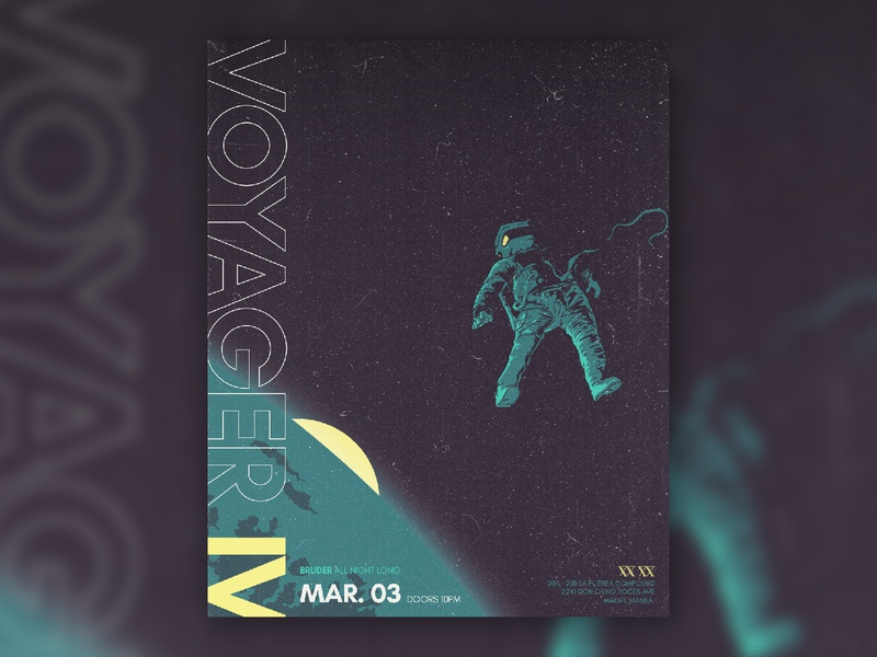 Voyager IV - Bruder art direction retro nightclub music astronaut space poster illustration