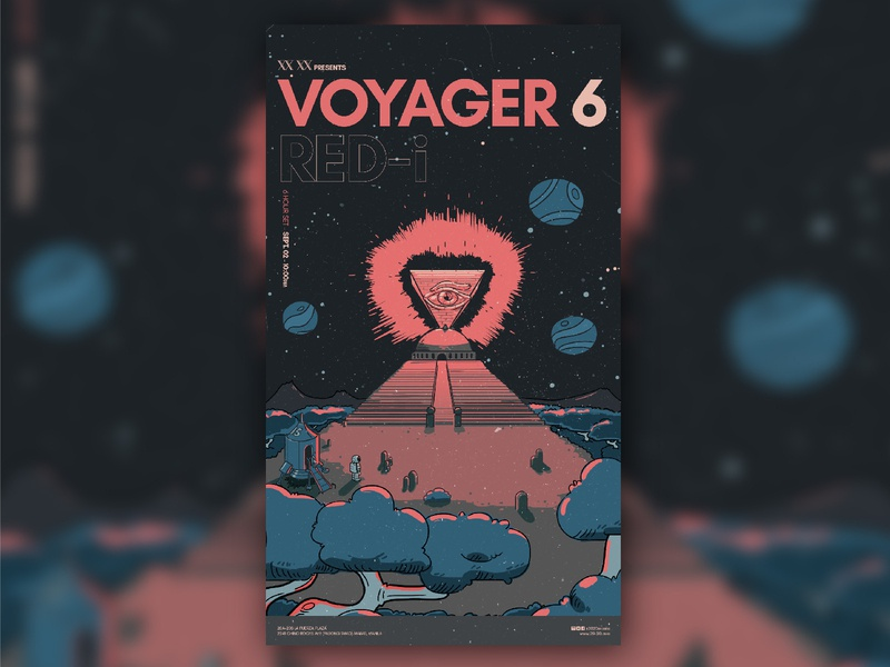 Voyager VI - Red-i cartoon pyramid astronaut space illustration art direction music poster graphic design