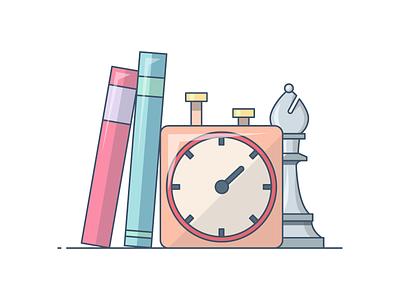 Tactics Time! website-icons books-icon clock-icon clock books-illustration study books tactic chess
