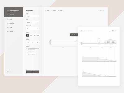 Beam Calculator App with Windows Fluent Design architecture civil engineering website design apps fluent windows app ux ui