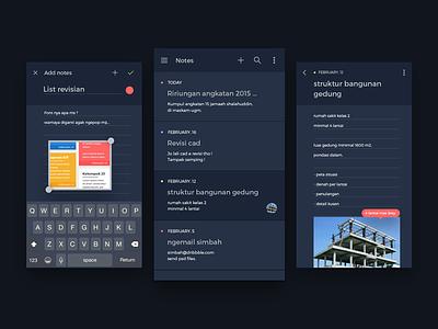 Notes app app android ios flat dark ux ui notes