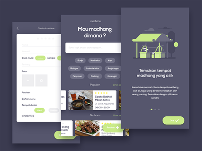 Madhang : Community-based culinary information sharing jogja dark apps restaurant food ux ui ios iphone android