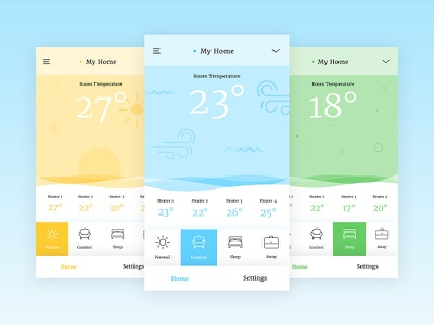 Heater App. concept apps material weather termostat heater ux ui ios iphone android