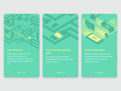 Parking app - onboarding concept ux ui material illustration android ios app parking