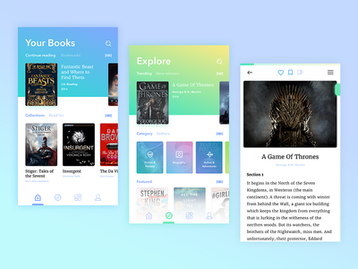 Books app mobile library book material ios android ux ui