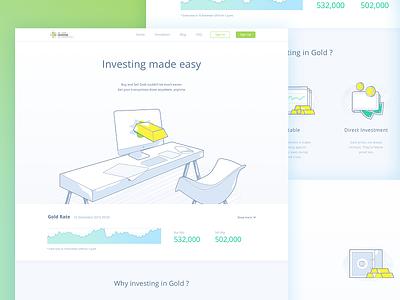 Gold Investment Landing page illustration ux ui web page landing investment gold