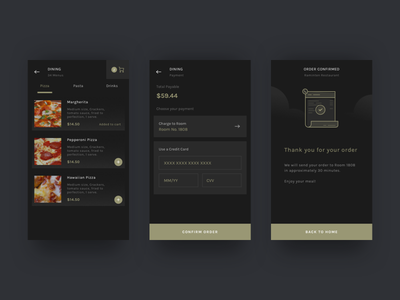 Hotel Dining App explorations ios android ux ui order food restaurant dining hotel apps