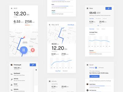 Fitniss App - Screens health flinto prototype app maps tracker running fitness