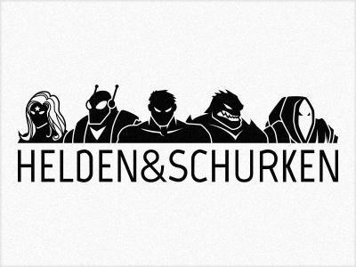 Helden & Schurken Logo german illustration logo villains heroes