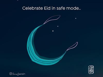Covid Eid  |  Eid Greeting vector illustration design graphic design
