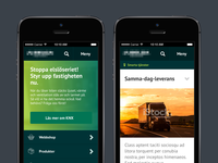 Start and content pages mobile view