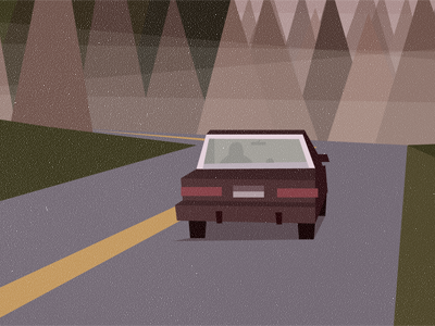 Twin Peaks Poster - The Sign (detail) twin peaks illustration mountains trees fog sign road car