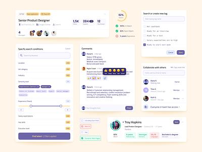 Recruitment Platform Blocks figma opportunities dropdown modal blocks cards filters jobsite jobs hiring human resources hr recruitment system product web navigation app ux ui