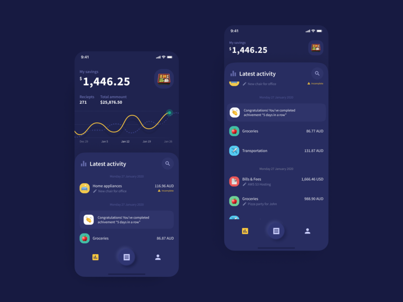 Receipt App for Scanning, Tracking, and Managing Bills figma app design graph chart expense tracker expenses receipt dashboard product mobile design navigation app ux ui