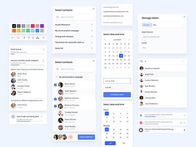 Influencer Marketing Platform – Outreach Blocks figma design popover dropdowns design system outreach modals navigation ux ui