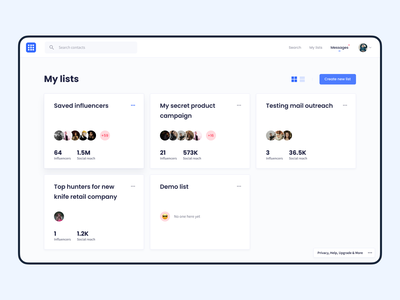 Influencer Marketing Platform – Lists Feature Exploration footer connections management social media influencer marketing influencer crm listing product web app ux ui