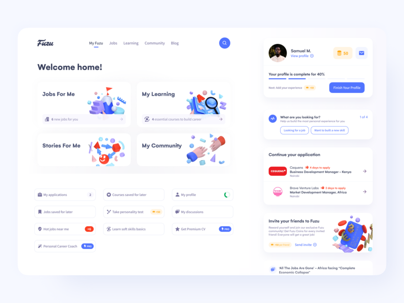 Jobseeker Dashboard ver.1 – Job and Learning Platform career website cards side menu sidebar figmadesign courses learning jobseeker job platform job figma product design dashboard design product web app ux ui