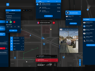 Mission – Web application team collaboration chat messenger map editor modals police video streaming augmented reality tracker navigation map ux ui web app