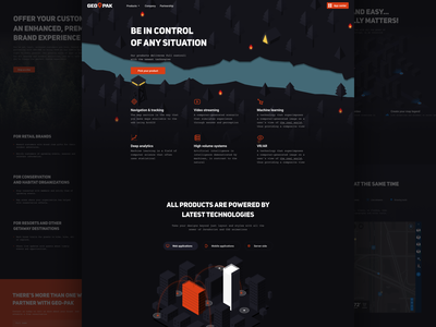 GEO-PAK – Corporate website for product company navigation augmented reality mobile typography isometric illustration web corporate landing page ux ui