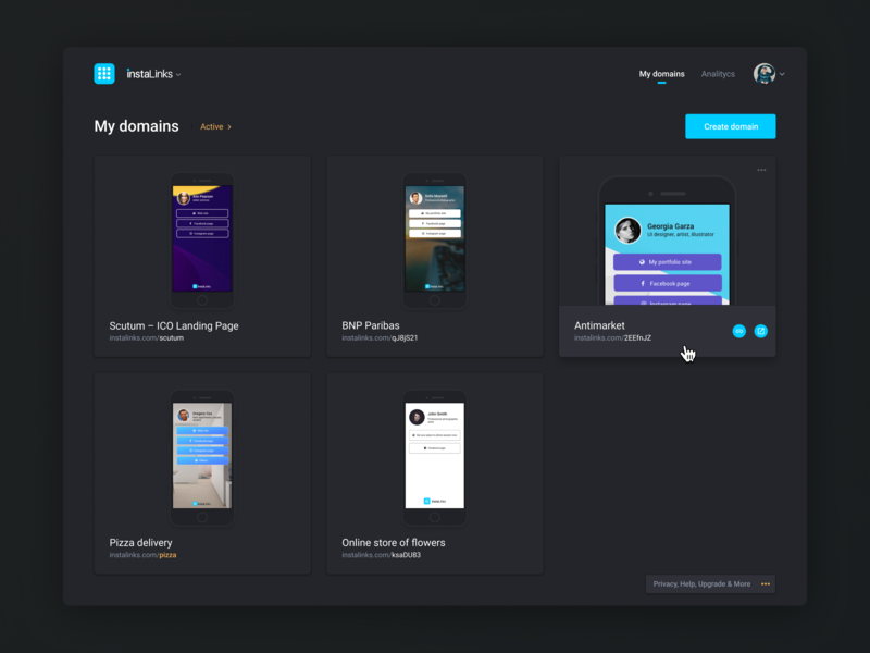Dark style exploration product card preview social app social marketing social media social footer links instagram dashboard product design web navigation mobile app ux ui