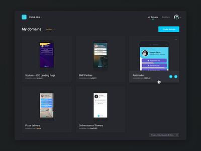 Dark style exploration product card preview social app social marketing social media social footer links instagram dashboard product design web navigation mobile app ux ui