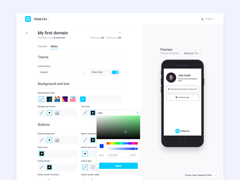 Page styles editor preview color picker editor styles dashboard product design mobile web navigation app ux ui