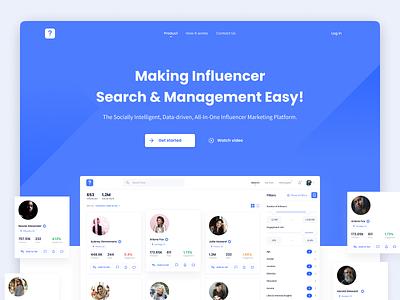 Influencer marketing platform – Landing page v2 landing design minimalistic minimal clean social landing page dashboard product design web navigation app ux ui