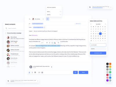 Influencer Marketing Platform – Outreach Feature attachment contacts datapicker messaging mail components design system product design product design web navigation app ux ui