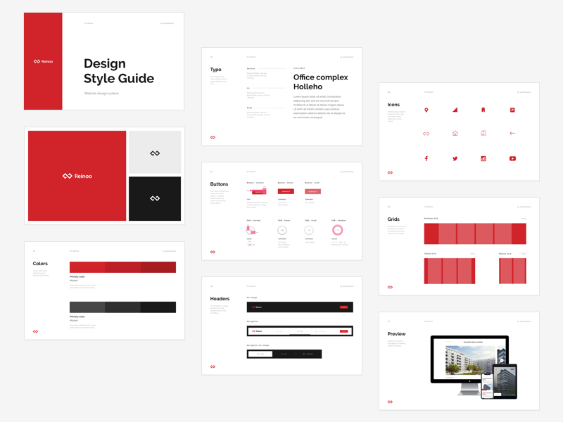 Reinoo Website , Design System Style Guide by Michal Sleziak