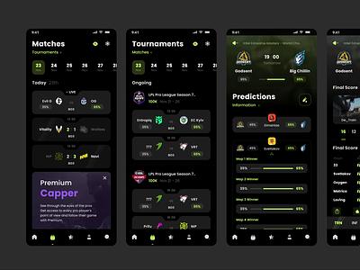 Esport Predictions 2021 logo esport game tournaments animation dark mobile sportsbook betting matches dota steam branding design csgo ux svetlakov ui predict