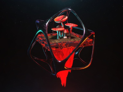 I know that you're smart You mentioned it before quixel surrealism daily techno acid cyberpunk reflection render glow neon futuristic futurism 3d sci-fi trippy psychedelic neuro amanita mushrooms c4d