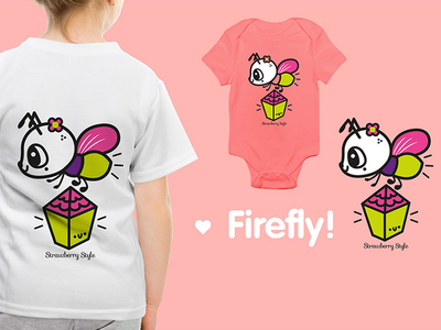 Illustration stamp for clothing brand illustration kawaii cute children brand t-shirt stamp clothe firfly