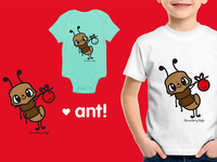 "Illustration ""Ant"" stamp for clothing brand"