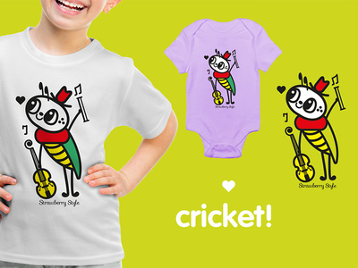 "Illustration ""Cricket"" stamp for clothing brand t-shirt stamp kawaii illustration firfly cute brand  clothe children"