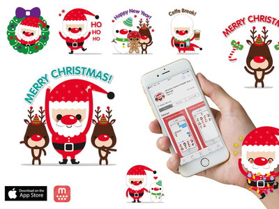 Chat Stickers/Emojis for the App Imessage (Mojilala) snow man rudolph new year christmas santa claus mojilala app apple store stickers chat stickers emojis imessage