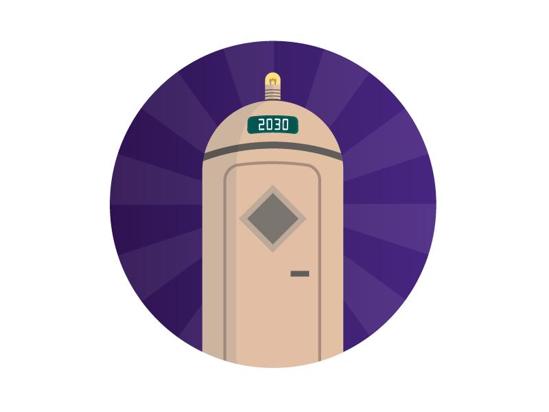 Time Machine flat ui time machine capsule bulb future purple icon flat