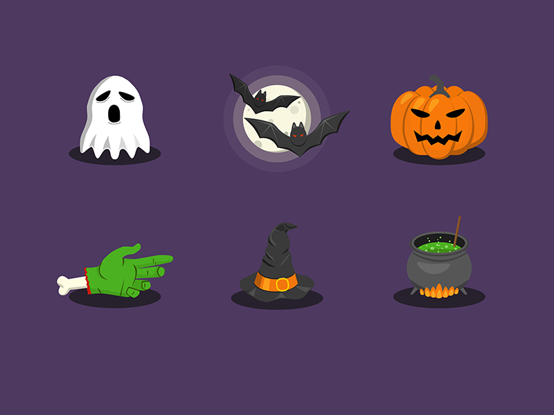 It's almost Halloween!  purple scary potion hand icons flat hat witch bats pumpkin ghost halloween