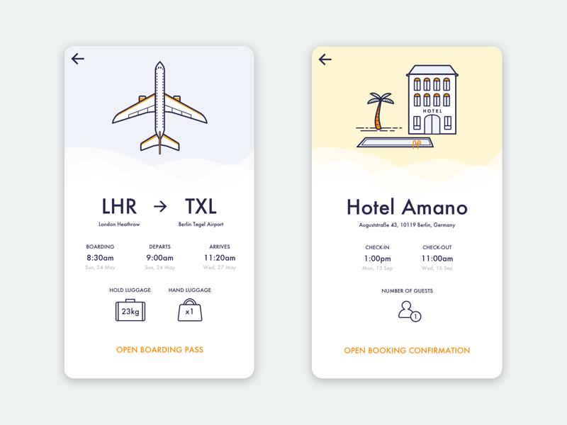 Tripn - travel itinerary app illustration application itinerary booking ticket flight ios holiday hotel plane interface app