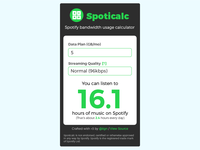 Spoticalc App redesign [mobile view]